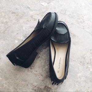 NWT! Black Fringe Loafers
